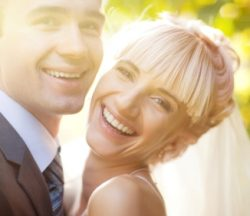 closeup portrait of happy caucasian couple just married